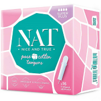NAT nice & true Tampóny z organickej bavlny s aplikátorom - super plus 16 ks
