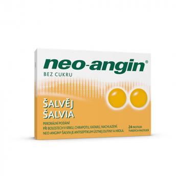 NEO-ANGIN Šalvia tvrdé pastilky 24 kusov