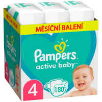 PAMPERS Active Baby mesačné balenie veľ.4 9-14 kg 180 ks