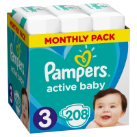PAMPERS Active Baby-Dry 3 MIDI 5-9 kg 208 kusov