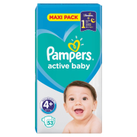 PAMPERS Active Baby-Dry 4+ MAXI 9-16 kg 53 kusov