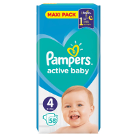 PAMPERS Active Baby-Dry 4 MAXI 8-14 kg 58 kusov