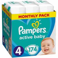 PAMPERS Active Baby detské plienky veľ.4, 9 – 14 kg 174 ks