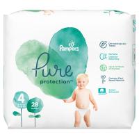 PAMPERS Pure Protect Veľ.4 Detské plienky 9-14 kg 28 ks