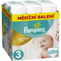 PAMPERS Premium care monthly 3 MIDI 5 - 9 kg 204 kusov