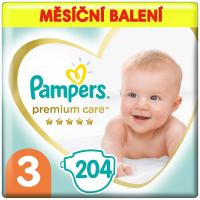 PAMPERS Premium care monthly 3 MIDI 6-10 kg 204 kusov