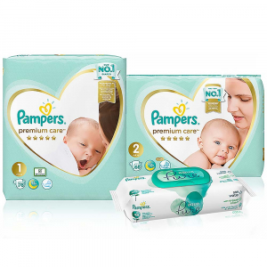PAMPERS Premium Care Starter Pack plienky 78 a 68 ks + wipes 48 ks