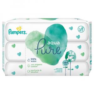 PAMPERS Aqua Pure Detské čistiace obrúsky 3x 48 ks 144 ks
