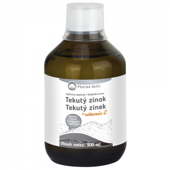 PHARMA ACTIV Tekutý zinok + vitamín C 300 ml
