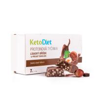 KETODIET Proteínové tyčinky lieskový oriešok a príchuť čokoláda 7 kusov