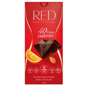 RED Horká čokoláda s pomarančovou príchuťou a mandľami bez pridaného cukru 100 g