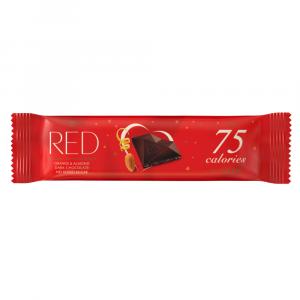 RED Horká čokoládová tyčinka s pomarančovou príchuťou a mandľami bez pridaného cukru 26 g