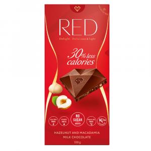 RED Mliečna čokoláda s makadamovými a lieskovými orechmi bez pridaného cukru 100 g