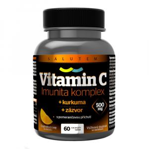 SALUTEM  Vitamin C 500 mg Imunita kurkuma + zázvor 60 cmúľacích tabliet