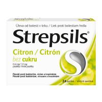 STREPSILS Citrón bez cukru 24 pastiliek