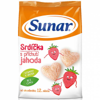 SUNAR Pre prvé zúbky Srdiečka s jahodovou príchuťou 50 g