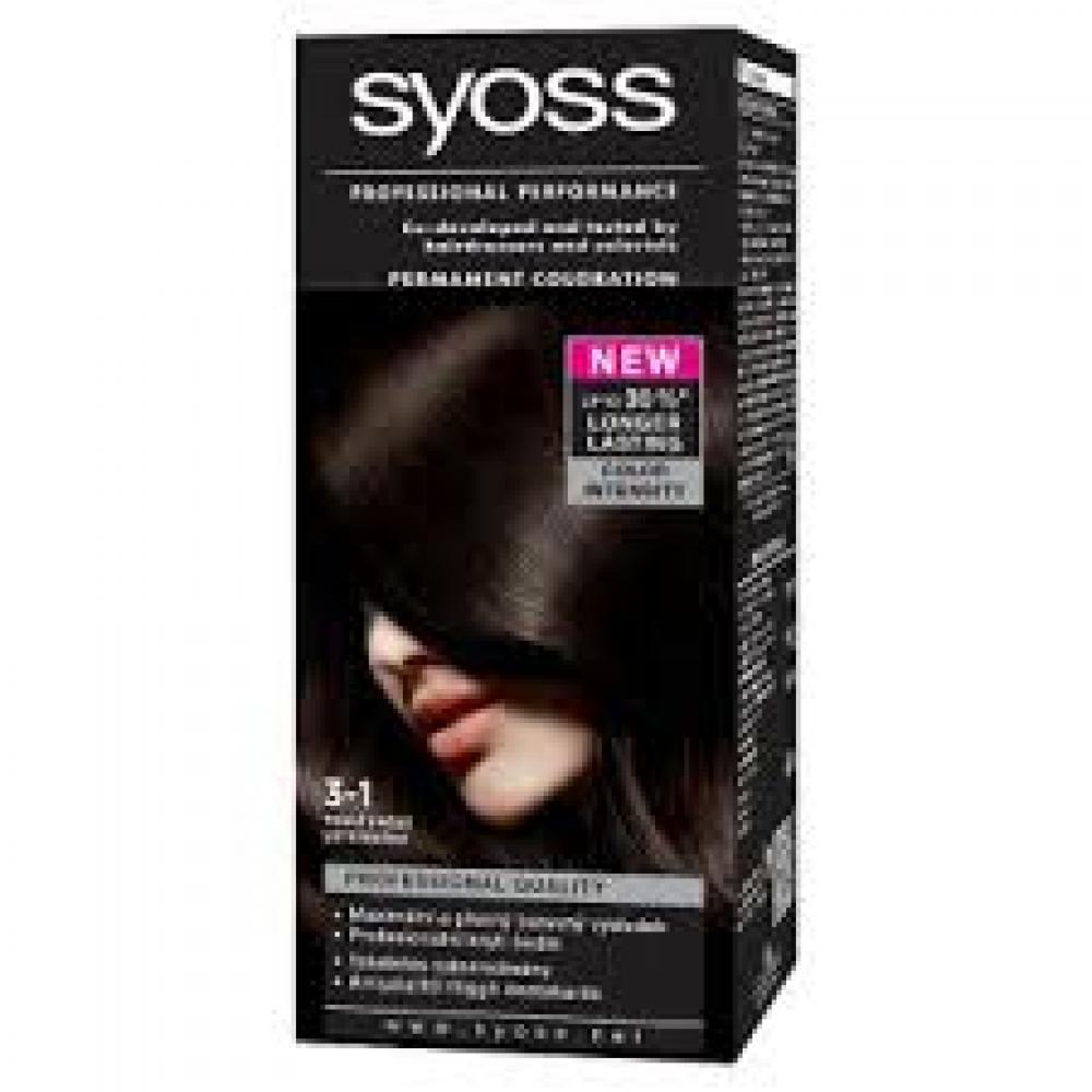 SYOSS farba na vlasy odtieň tmavo hnedý 3-1