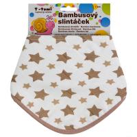 T-TOMI BIO Bambusový slintáčik Béžové hviezdičky