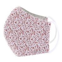TNG Rúško textilné 3-vrstvové červená kvetinka veľkosť S 1 kus