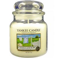 YANKEE CANDLE Classic stredný Sviečka 411 g, Vôňa: Clean Cotton