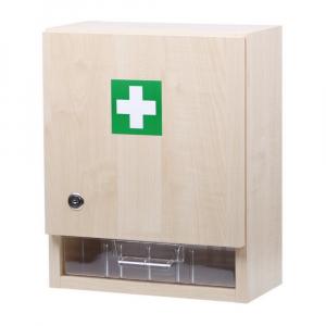 ZM10 LEKÁRNIČKA Nástenná drevená s náplňou zdravotníckeho materiálu do 10 osôb